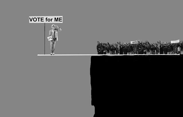 político en el precipicio